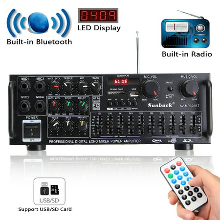 Amplifier Receiver Stereo, 1200W bluetooth Stereo Audio Amplifier 2Channel Receiver FM Radio USB SD 110/12V (Fm Receiver For Home)