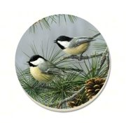CounterArt Beautiful Songbirds Chickadees Absorbent Coasters, Set of 4