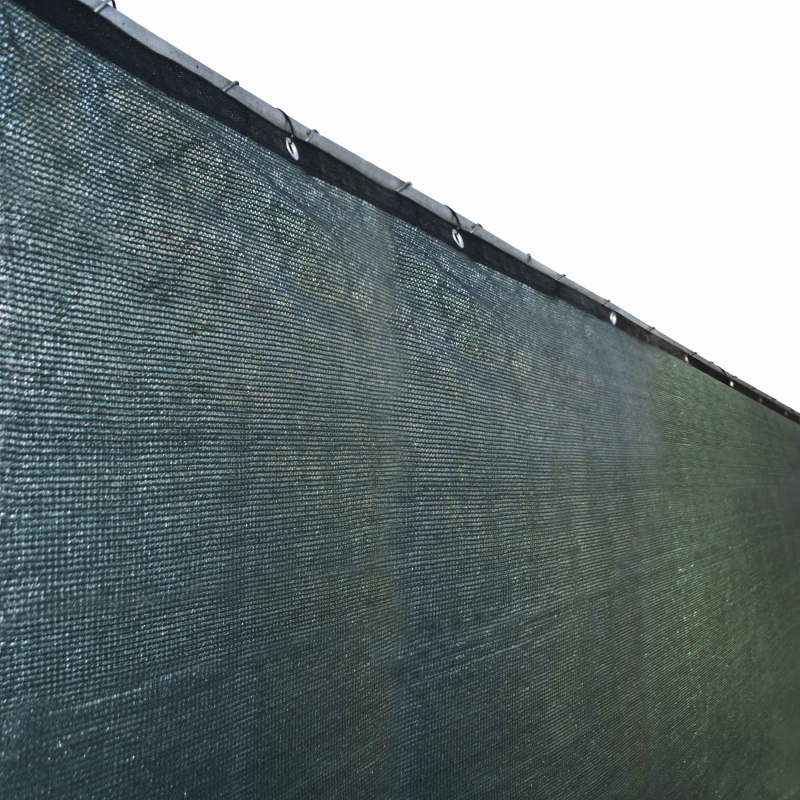 Aleko Privacy Mesh Fabric Screen Fence with Grommets - 6 x 25 Feet - Dark Green