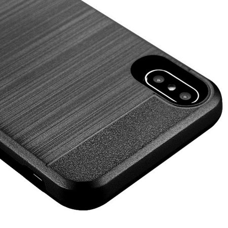 Insten Dual Layer [Shock Absorbing] Hybrid Brushed Hard Plastic/Soft TPU Rubber with Card Slot Case Cover For Apple iPhone XS Max, Black - image 2 of 4