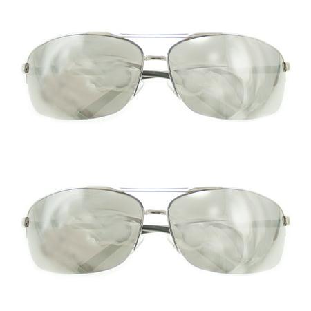 2 Aviator UV 400 Sunglasses 100% UVA/UVB Protection Partial Frame (100 Uva Uvb Sunglasses)