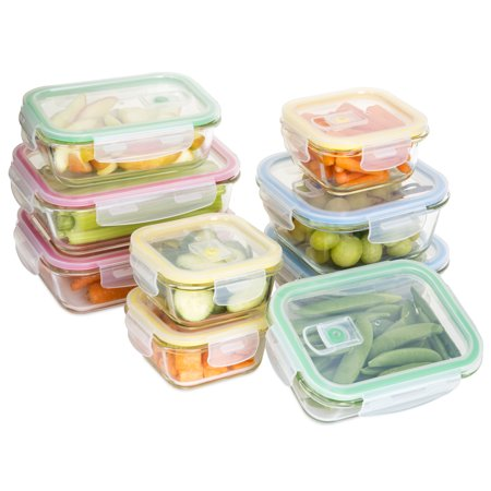 Oven Microwave Freezer (Best Choice Products 18-Piece BPA-Free Microwave Dishwasher Freezer Safe Stackable Glass Food Saver Containers Set w/ Airtight Seal Lids, Air Vents, Locks, Small/Medium/Large Sizes -)