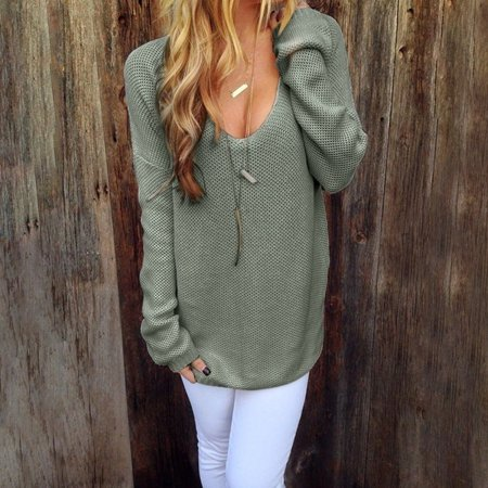 Autumn Winter Women Long Sleeve Solid Color Sweater
