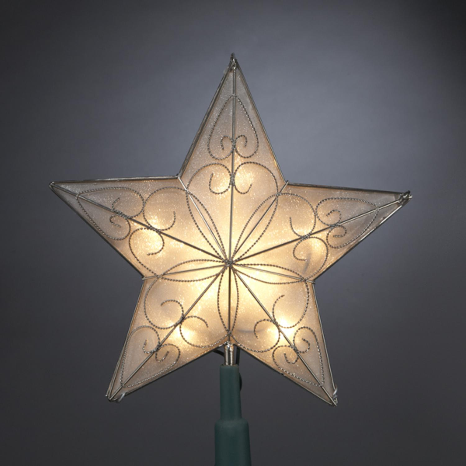 "8.5"" Pre-Lit Capiz-Style Silver Scrolling Star Christmas Tree Topper - Clear Lights"