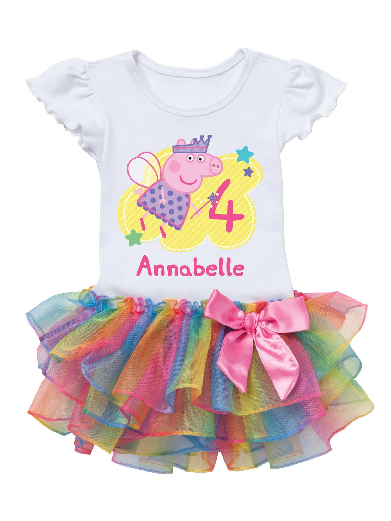 Peppa Pig Birthday Fairy Personalized Rainbow Toddler Girl Tutu Tee Dress Baby Flower Pink 0 2th