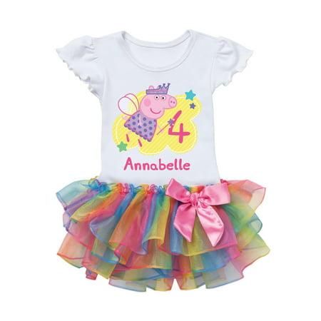 Peppa Pig Birthday Fairy Personalized Rainbow Toddler Girl Tutu Tee for $<!---->