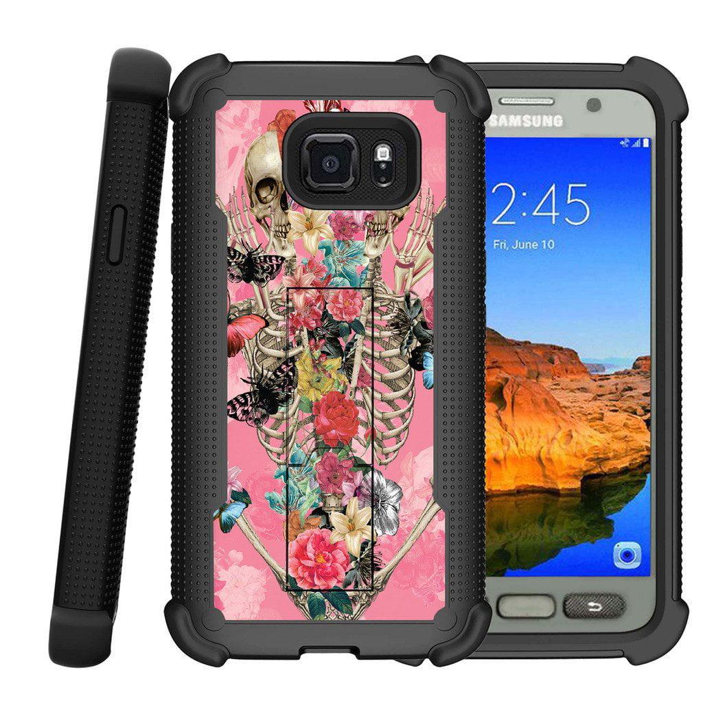 Samsung Galaxy S7 Active Case | S7 Active Phone Case [ShockWave Armor] Shock Resistant Heavy Duty Kickstand Case - Rose Flower Skeleton