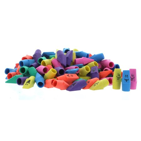 Lot of 144 Funny Face Neon Pencil Top Erasers Party Favors