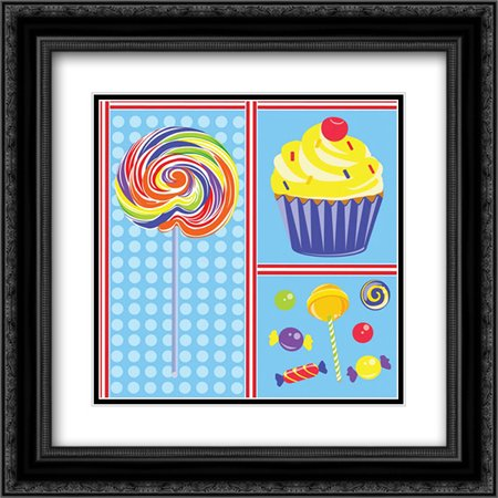 Sweet Shoppe IV 2x Matted 20x20 Black Ornate Framed Art Print by ND Art and (Sweet Shoppe Designs)