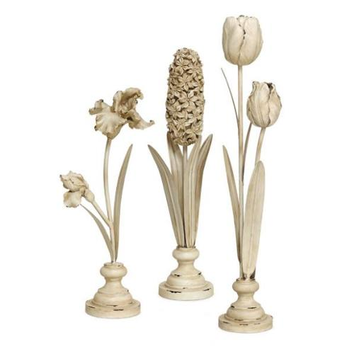 Set of 3 Tulip, Hyacinth and Iris Standing Flowers in Vases Table Top Decor