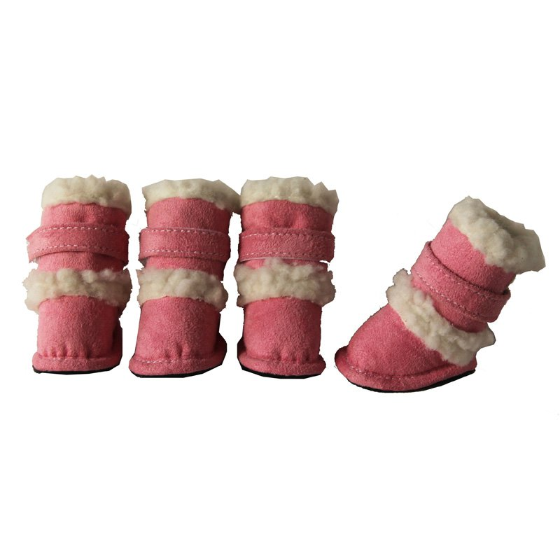"Pet Life Shearling Duggz Dog Boots - Pink X-Small - 4 Boots - (2.4""L x 1.5\""W)"