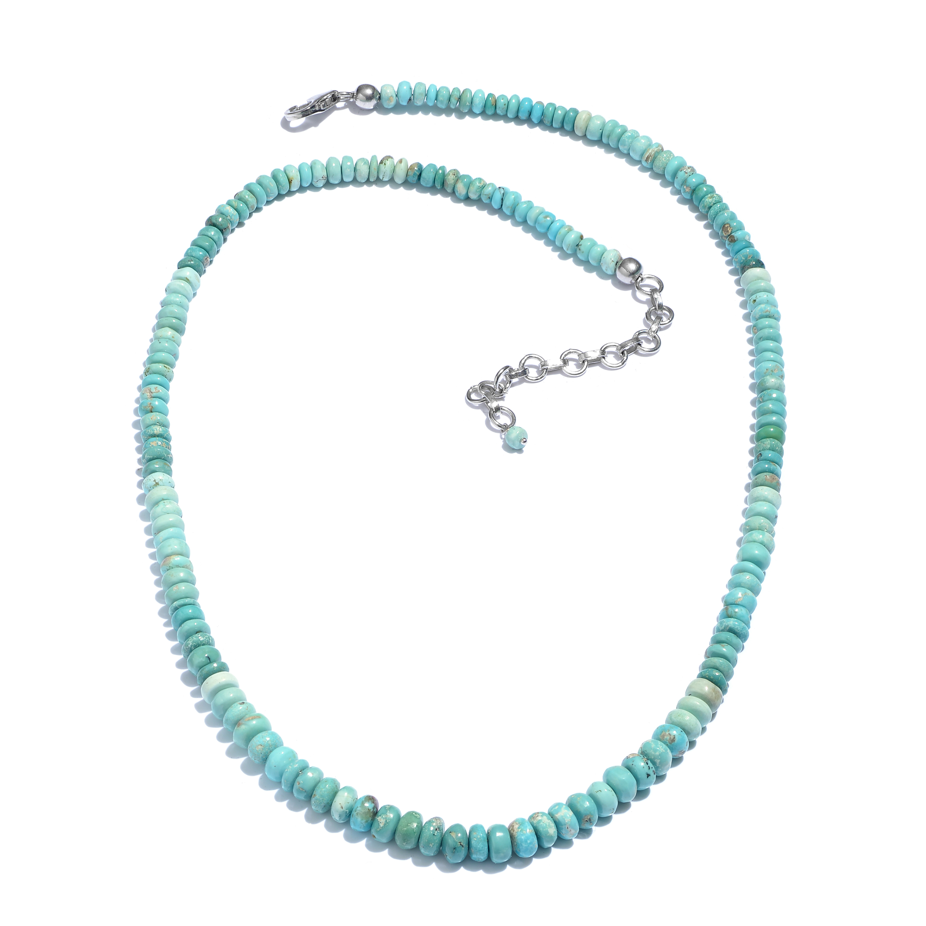 """Turquoise Platinum Plated Silver Strand Necklace for Women Size 18"""" by Shop LC"""