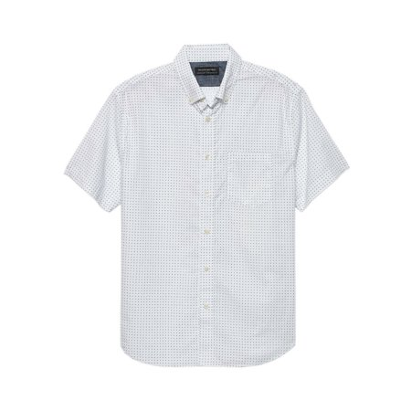 New  Banana Republic Mens White Print Standard Fit Short Sleeve Shirt X-Large 3295-7 Banana Republic Long Sleeve Shirt