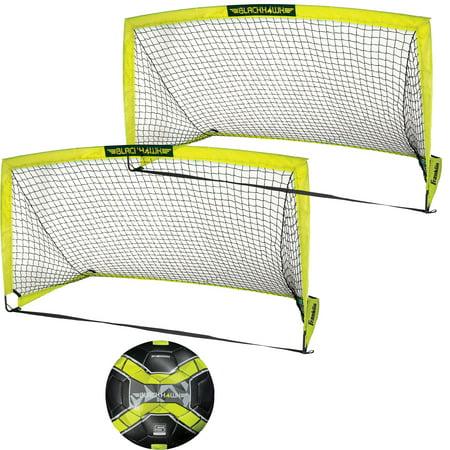 Franklin Sports - Blackhawk Fiberglass Soccer Goal and Soccer Ball Value Bundle