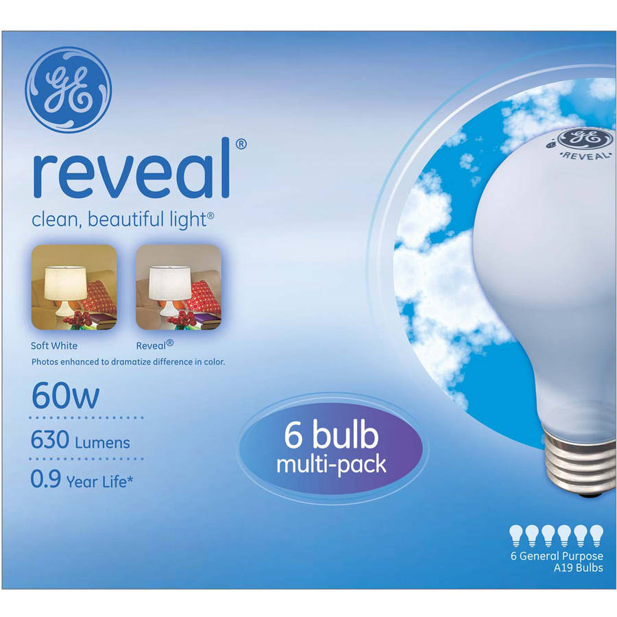 GE Reveal Incandescent Light Bulbs, 60W, 6-count
