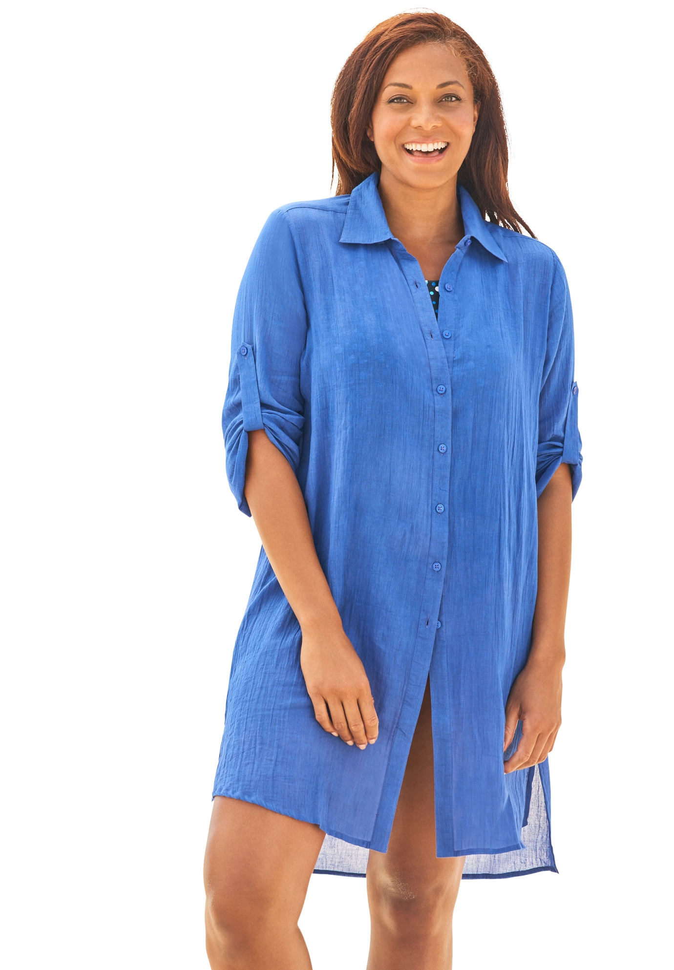 Swimsuits For All Womens Plus Size Button-Front Swim Cover Up