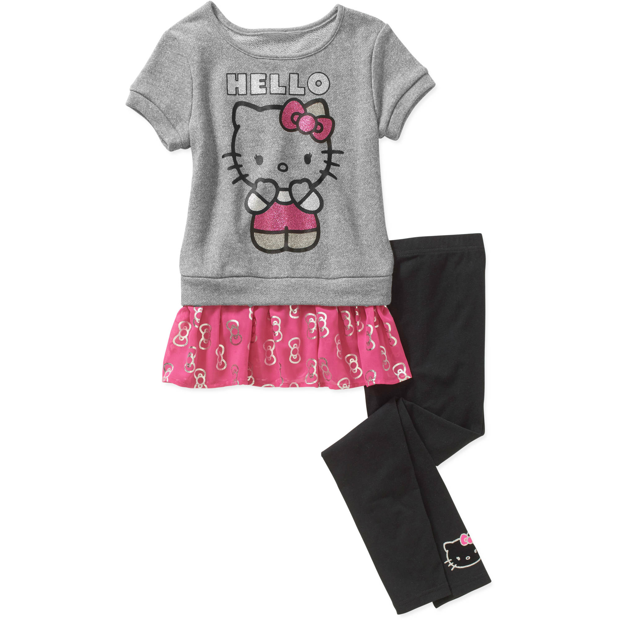 Hello Kitty Girls' Short Sleeve Loop Terry with Leggings Set
