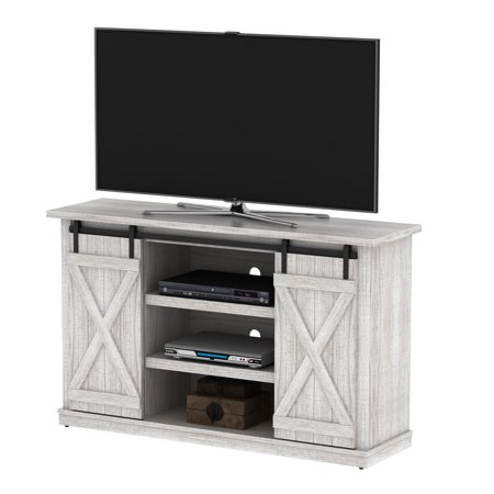Luxe By Tsi Terryville Barn Door Tv Stand For Tvs Up To 60 White