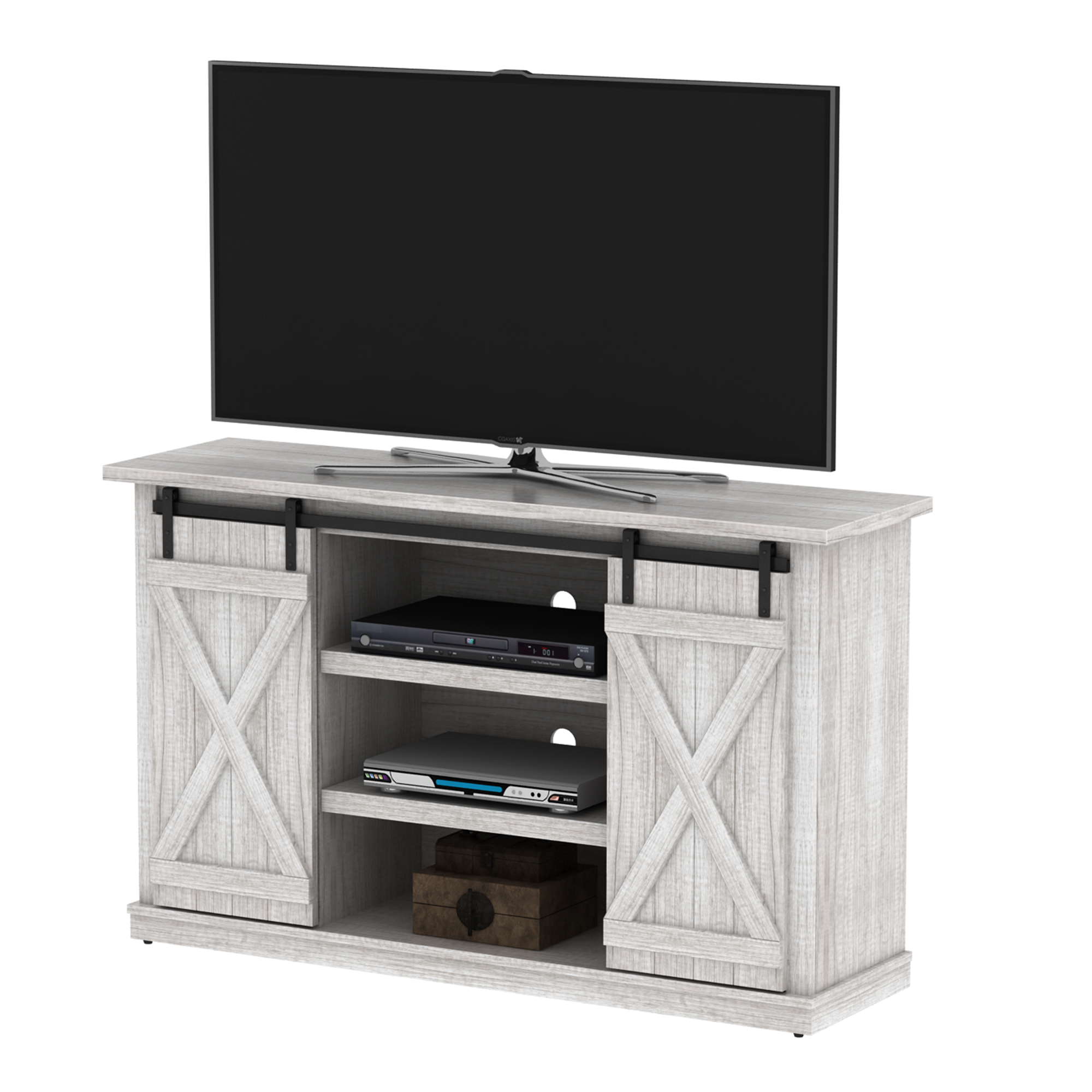 """Luxe by TSI Terryville Barn Door TV Stand for TVs up to 60"""", White Oak"""