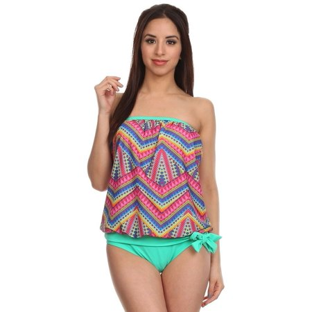 Dippin' Daisy's Green Zipper Print Bandeau Blouson Tankini Top and Bottom (Includes Bottom) Made in USA