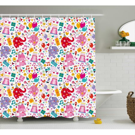 Kids Birthday Shower Curtain, Children Party Theme with Animals Elephants Hearts and Balloons Colorful, Fabric Bathroom Set with Hooks, 69W X 75L Inches Long, Multicolor, by - Animal Themed Party