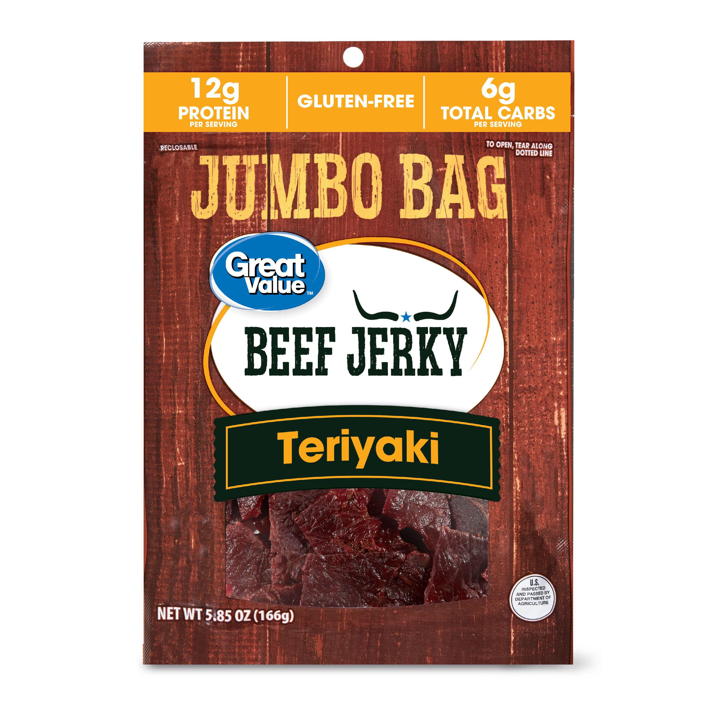 Great Value Gluten-Free Teriyaki Beef Jerky Jumbo Bag, 5.85 Oz.