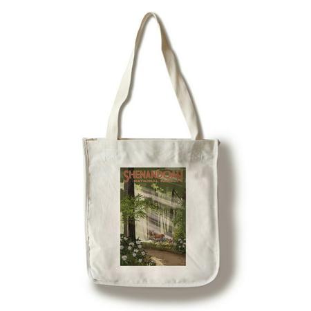 Shenandoah National Park  Virginia   Deer   Fawns   Lantern Press Artwork  100  Cotton Tote Bag   Reusable