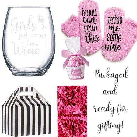 Wine Glass Boxes (If You can read this Bring Me Some Wine Socks with a Stemless Girls Just Wanna have Wine Glass in Cute)