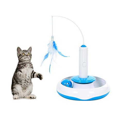Electric Rotate Best Interactive Cat Feather Toys Teaser Motion Kitten