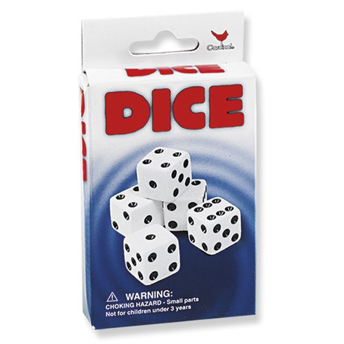 "5 pack white dice 5/8"" 16mm"