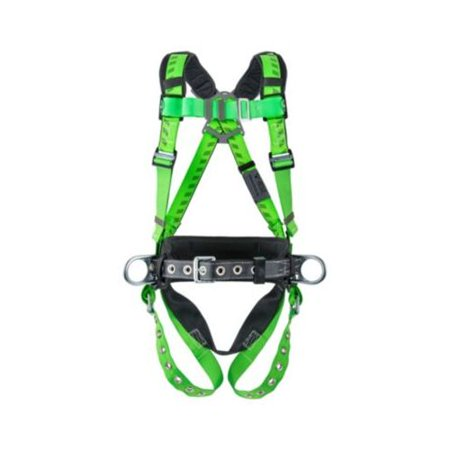 MSA X-Standard Green And Black TechnaCurv Construction Harness With Quik-Fit Chest Buckle, Tongue Leg Buckles, Integral Belt, 1 HIp And 2 Back D-Rings