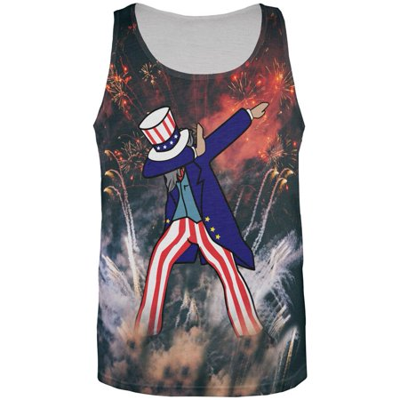 4th of July Dabbing Uncle Sam Fireworks Sub All Over Mens Tank