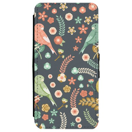Image Of Pattern of Various Colored Birds and Floral Elements Apple iPhone 7 Plus Leather Flip Phone Case
