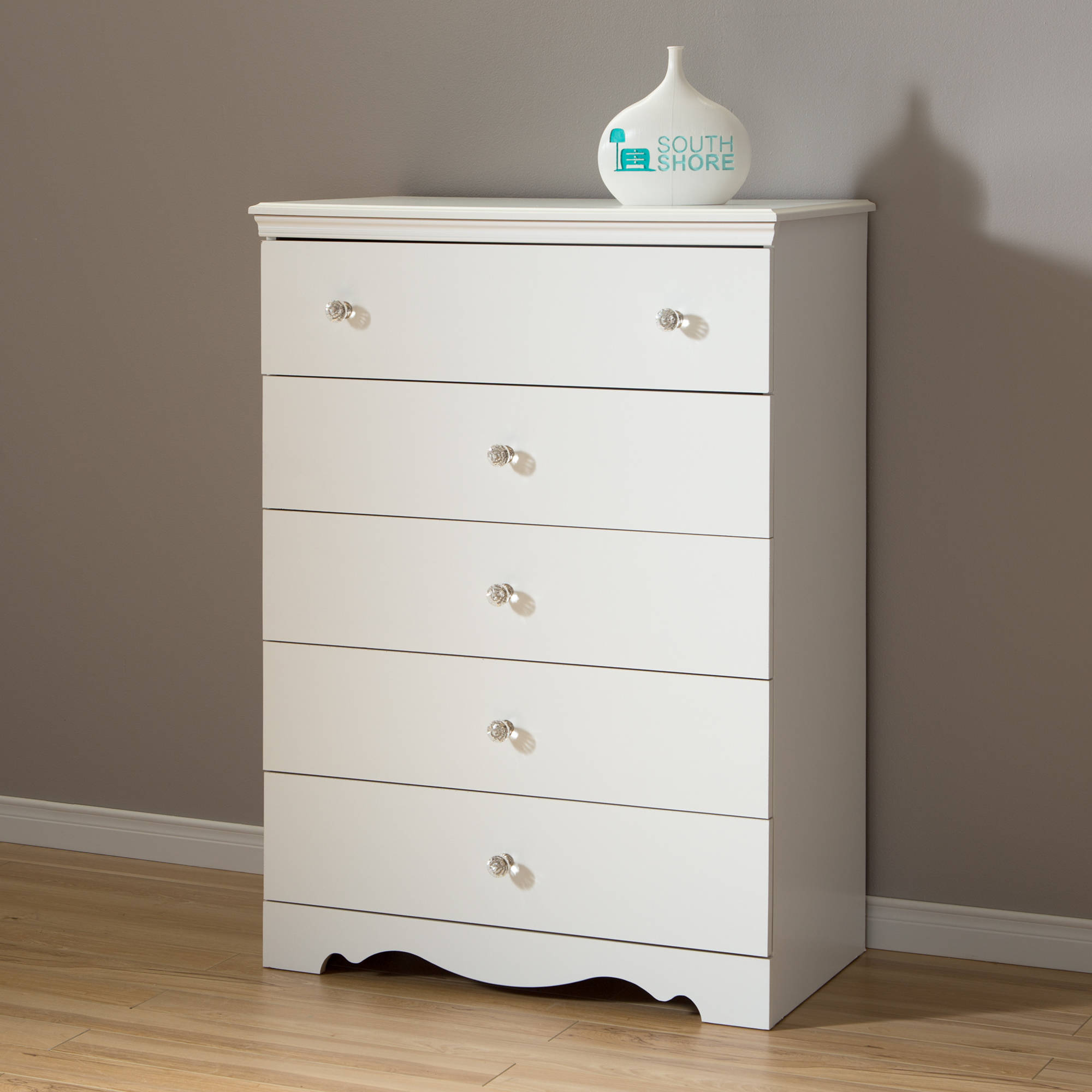 South Shore Crystal 5-Drawer Chest, White
