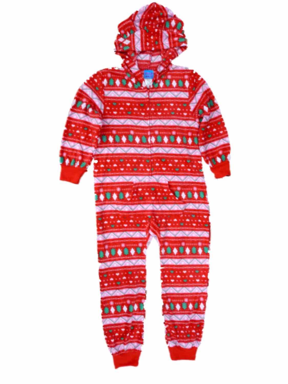 Sleep On It Girls Holiday Tree Hoodie Union Suit Blanket Sleeper Pajamas PJ