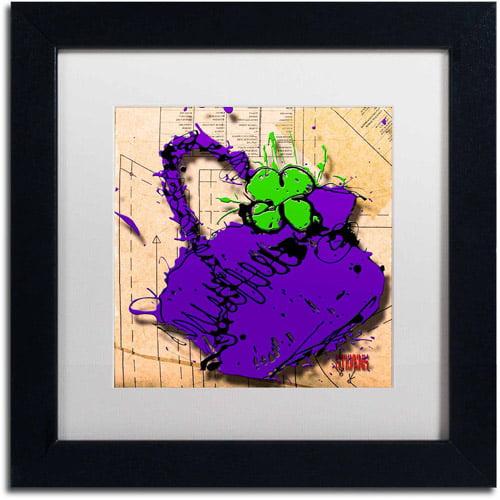 "Trademark Fine Art ""Flower Purse Green on Purple"" Canvas Art by Roderick Stevens, White Matte, Black Frame"
