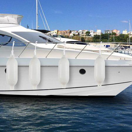 "Ribbed Marine 6.5 x 23/"" Boat Fender Vinyl Bumper Dock Shield Protection WHITE"