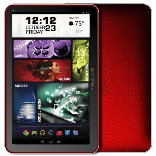 """Visual Land 16 Gb Tablet - 10"""" - Quad-core [4 Core] - Red - Android 4.4 Kitkat - Slate (me-10q-16gb-red)"""