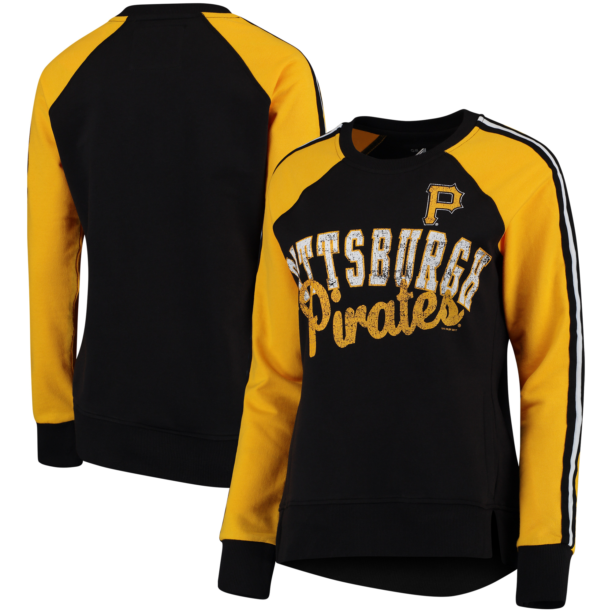 Women's G-III 4Her by Carl Banks Black/Yellow Pittsburgh Pirates Perfect Pitch Pullover Sweatshirt