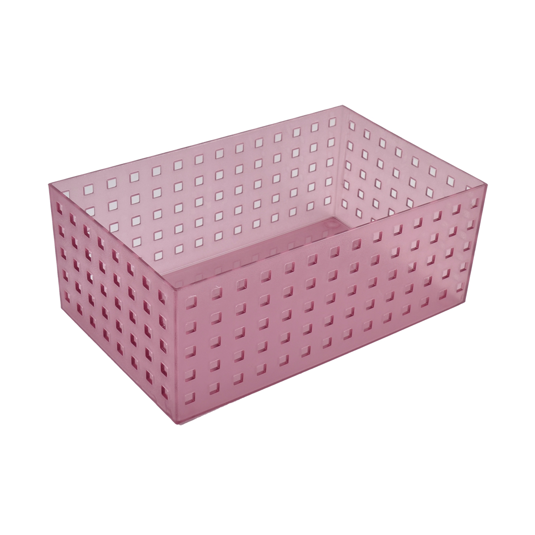 Household Office School Resin Hollow Out Design Storage Basket Light Purple