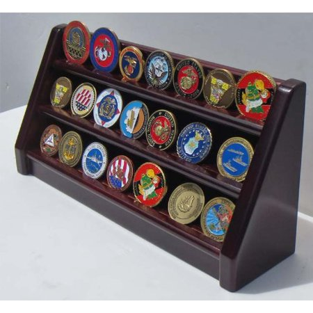 3 Rows Challenge Coin / Casino Chip Display Stand Rack Holder Stand, Mahogany Finish Coin18-MA, Made from solid beechwood, Stained into Mahogany Finish.., By DisplayGifts Ship from US Row Challenge Coin Rack