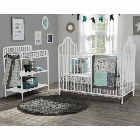 Little Seeds Rowan Valley Lanley Metal Crib and Changing Table Set, (Metal Crab)