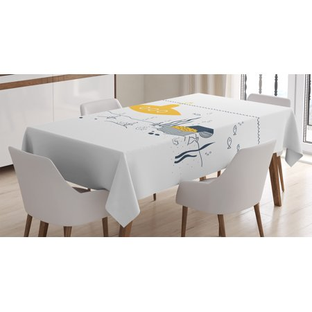 Rectangular Treasures (Yellow Submarine Decor Tablecloth, Submarine Fish and a Treasure Chest on the Sea Bottom Print, Rectangular Table Cover for Dining Room Kitchen, 60 X 84 Inches, White Earth Yellow, by Ambesonne )