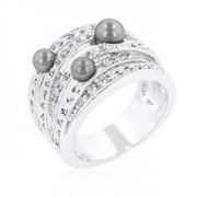 Icon Bijoux R08263R-C82-11 Gray Pearl Cocktail Ring (Size: 11)