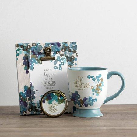 Pedestal Mugs Set (DaySpring  -  DaySpring - All Things - Pedestal Mug, Cosmetic Mirror, Clip Frame & Art Print Gift)