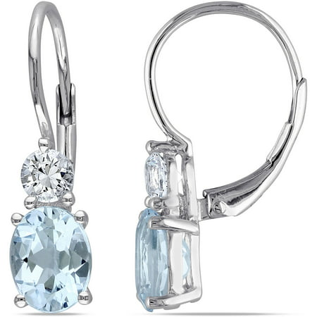 3-4/5 Carat T.G.W. Oval and Round-Cut Blue Topaz and Created White Sapphire Sterling Silver Leverback Earrings Citrine & Sapphire Round Earrings