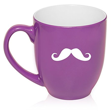 (16 oz Purple Large Bistro Mug Ceramic Coffee Tea Glass Cup Mustache)