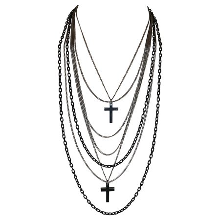 Deluxe Gothic 80s Madonna Retro Multilayer Gunmetal Crosses Long Multi Strand Black Chain - Multi Strand Cross