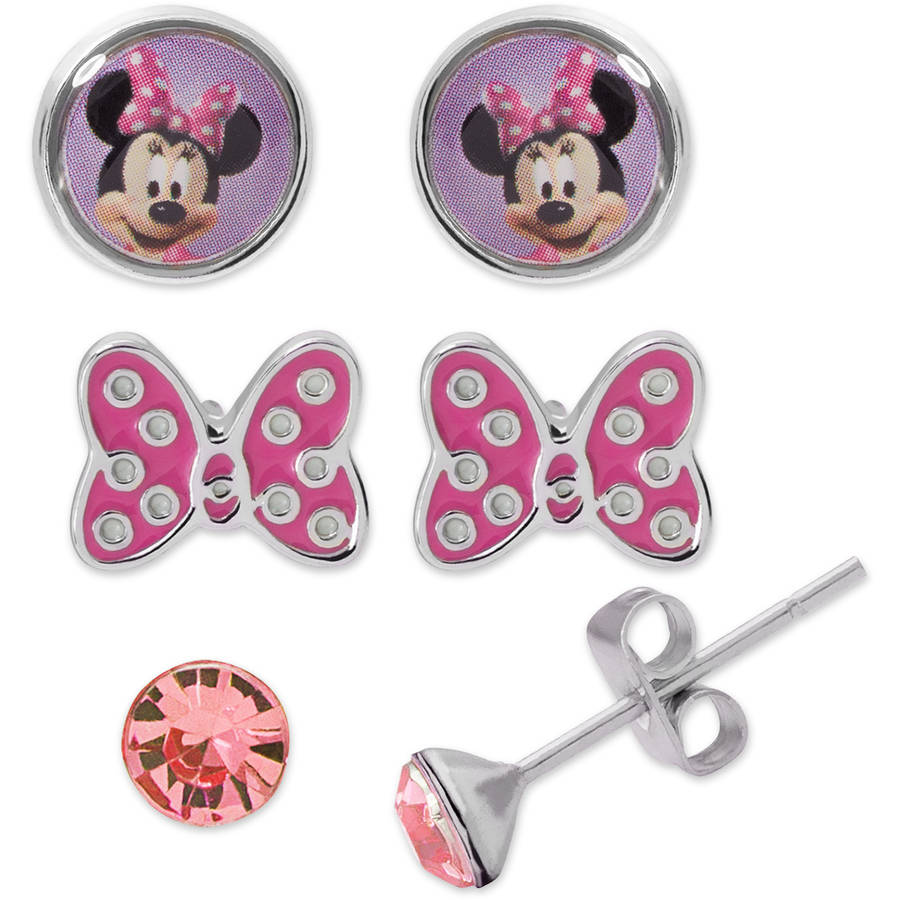 Disney Minnie Mouse Fashion Earring Set with Jewelry Box, 3 Piece