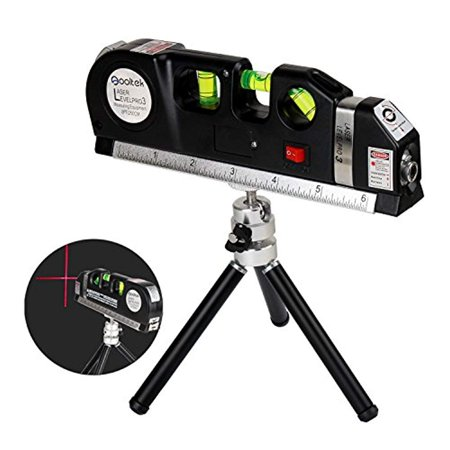 Squad Marketing Laser Level Line Laser New Measure +8ft Tape Ruler Adjusted Standard and Metric Rulers with Metal Tripod Stand(Black)